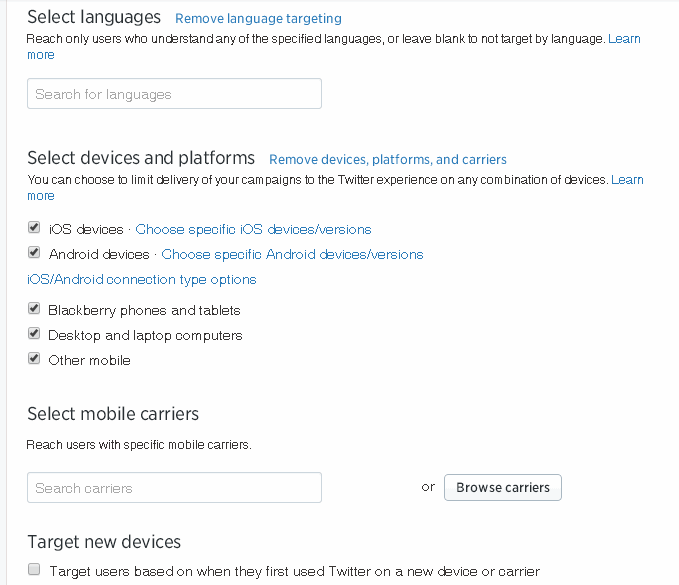 Twitter Device and Language Targeting